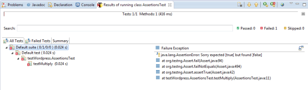 what happen when assertion fail using  assertTrue
