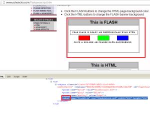 Example flashjavascript.- Embed Tag