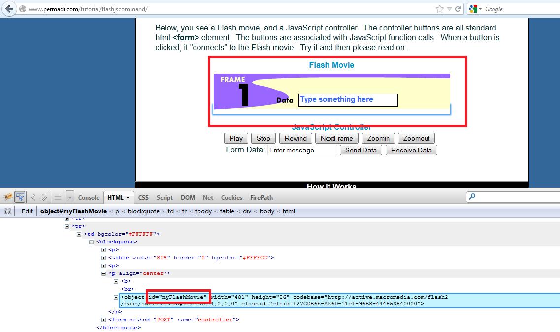 Firefox firebug – Get Object ID for permadi – flashjscommand