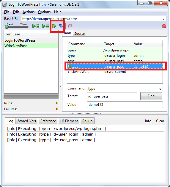 How to insert breakpoint in the test case for debugging your test case using selenium IDE STEP