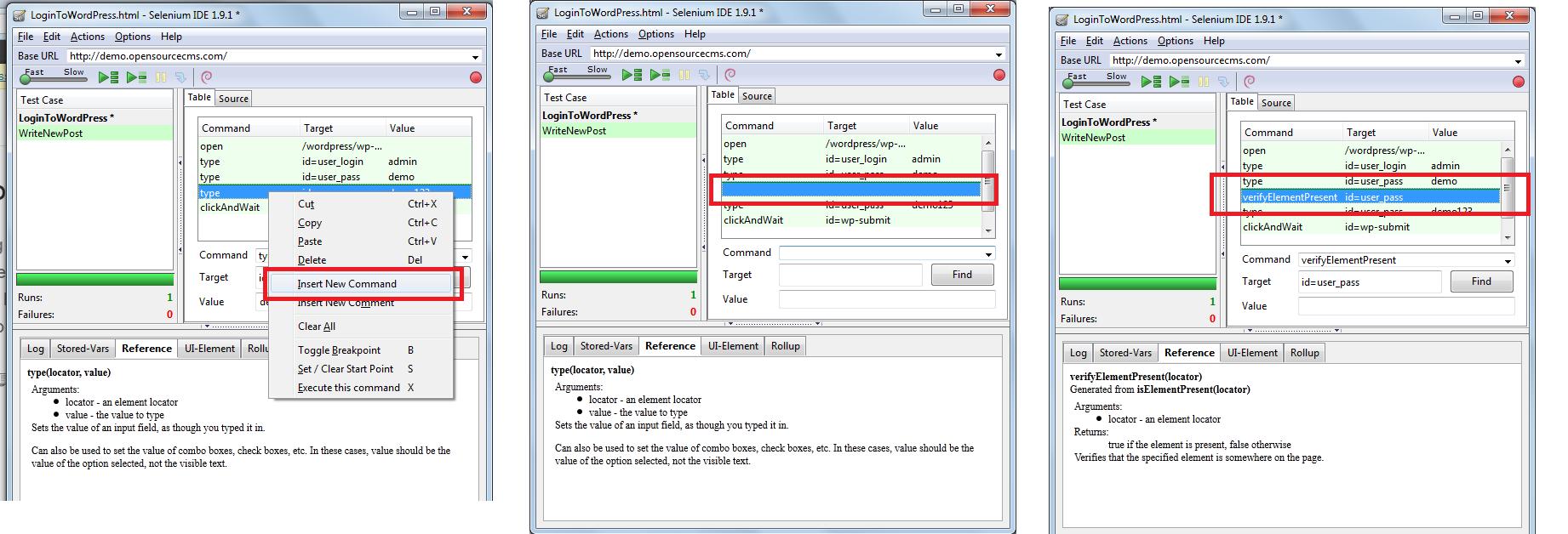 how to Insert commands in between script using selenium IDE?