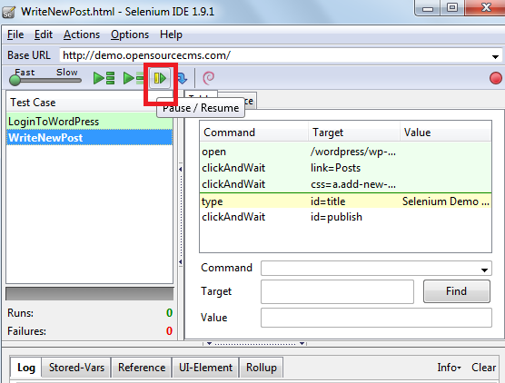 How to Stop and Start  a running test case using selenium IDE 3