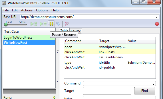 How to Stop and Start  a running test case using selenium IDE pasue