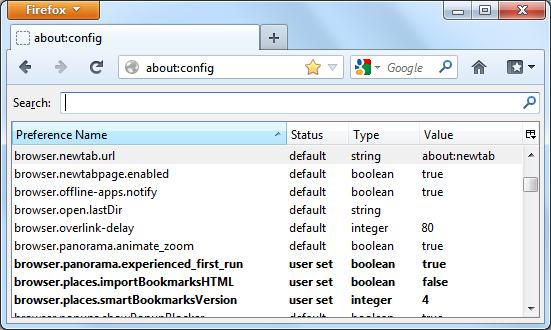What is about:config in Firefox